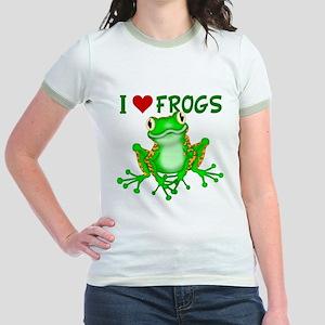 I Love (Heart) Frogs Jr. Ringer T-Shirt