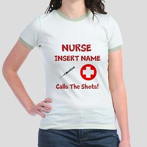 Personalize Nurse Calls Shots Jr. Ringer T-Shirt