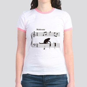Cat Toying with Note v.2 Jr. Ringer T-Shirt