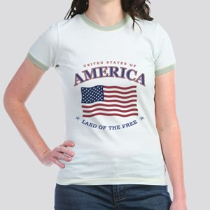 Patriotic Jr. Ringer T-Shirt (PINK, GREEN, YELLOW)