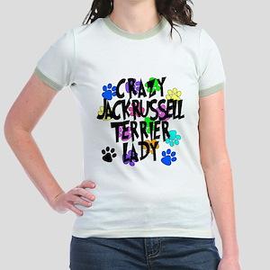 Crazy Jack Russell Terrier Lady Jr. Ringer T-Shirt