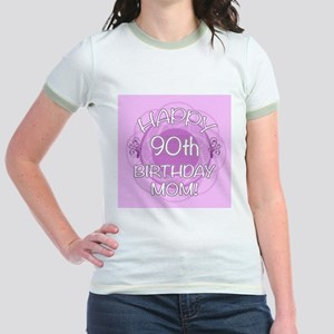 90th Birthday For Mom (Floral) Jr. Ringer T-Shirt