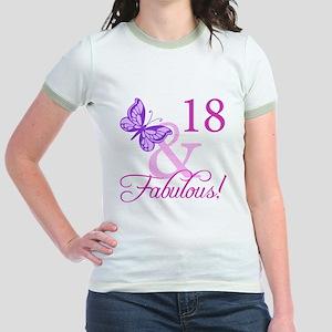 Fabulous 18th Birthday For Girls Jr. Ringer T-Shir