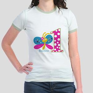Butterfly First Birthday Jr. Ringer T-Shirt