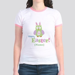 Personalized Happy Easter Owl Jr. Ringer T-Shirt