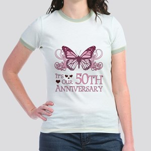 50th Wedding Aniversary (Butterfly) Jr. Ringer T-S