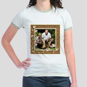 Personalizable Golden Flowers Frame Jr. Ringer T-S