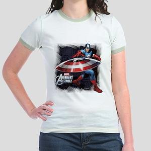 Captain America with Shield Jr. Ringer T-Shirt