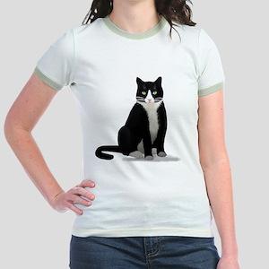 Tuxedo Kitty Cat Jr. Ringer T-Shirt