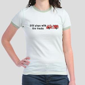 Still plays with fire trucks Jr. Ringer T-Shirt