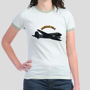 Douglas DC-3 With Text Jr. Ringer T-Shirt