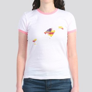 Balearic Islands Flag And Map Jr. Ringer T-Shirt