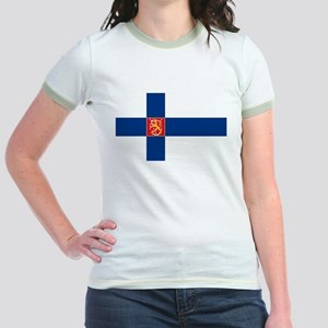 State Flag of Finland Jr. Ringer T-Shirt