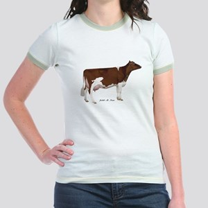 Red and White Holstein Cow Jr. Ringer T-Shirt
