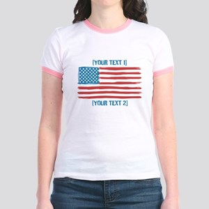 [Your Text] 'Handmade' US Flag Jr. Ringer T-Shirt