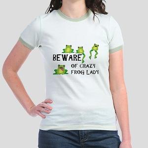 Beware of Crazy Frog Lady Jr. Ringer T-Shirt