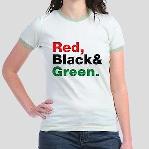 Red, Black and Green. Jr. Ringer T-Shirt