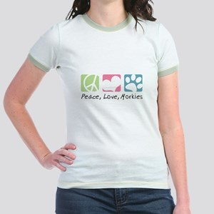 Peace, Love, Morkies Jr. Ringer T-Shirt