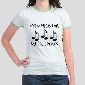 Words Fail Music Speaks Jr. Ringer T-Shirt