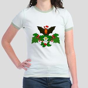 Christmas Holly With Bat Jr. Ringer T-Shirt