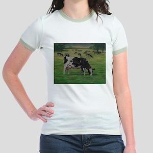 Holstein Milk Cow in Pasture Jr. Ringer T-Shirt