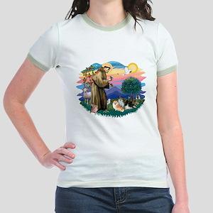 St Francis #2/Pomeranians(3) Jr. Ringer T-Shirt