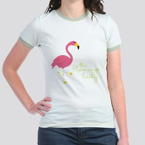 The Flamingo Lady Jr. Ringer T-Shirt