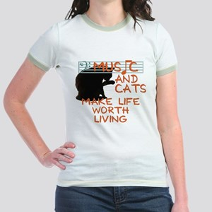 music and cats Jr. Ringer T-Shirt