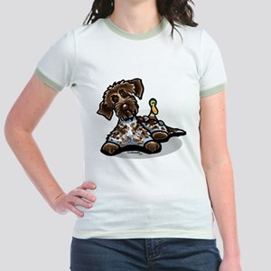 Funny Pointing Griffon Jr. Ringer T-Shirt