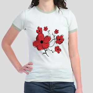 Modern Red and Black Floral Design Jr. Ringer T-Sh