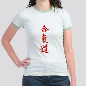 Aikido red in Japanese calligraphy Jr. Ringer T-Sh