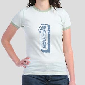 Blue Number 1 Birthday Jr. Ringer T-Shirt