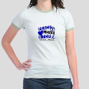 Peace Love Stop Child Abuse 1 Jr. Ringer T-Shirt