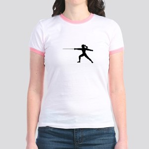 Girl Fencer Lunging Jr. Ringer T-Shirt