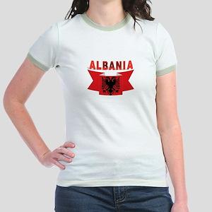 flag Albania Ribbon Jr. Ringer T-Shirt