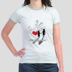 Stop Child Abuse Jr. Ringer T-Shirt