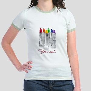 lipstick lesbian Jr. Ringer T-Shirt