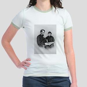Lincoln Reading to Son Tod Jr. Ringer T-Shirt