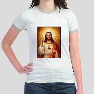 Sacred Heart of Jesus Jr. Ringer T-Shirt