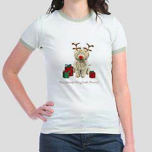 Merry Doodle Christmas Jr. Ringer T-Shirt