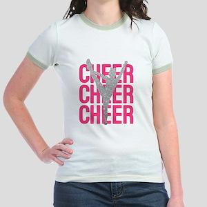 Pink Cheer Glitter Silhouette Jr. Ringer T-Shirt