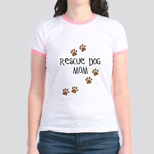 Rescue Dog Mom Jr. Ringer T-Shirt