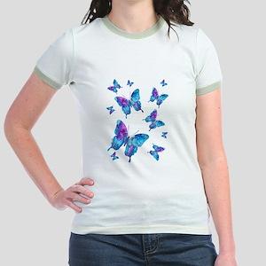 Electric Blue Butterfly Flurry Jr. Ringer T-Shirt