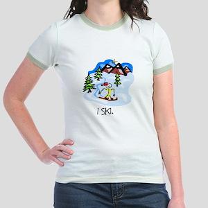 I Ski Stick Figure Jr. Ringer T-Shirt