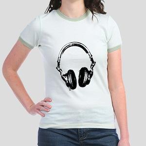 Dj Headphones Stencil Style T Shirt Jr. Ringer T-S