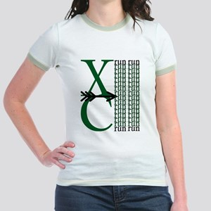 XC Run Dark Green White Jr. Ringer T-Shirt