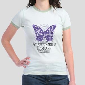 Alzhimers Butterfly 4 Jr. Ringer T-Shirt