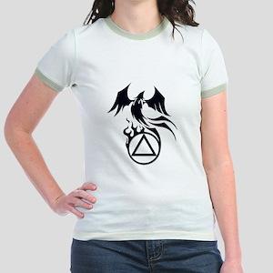 A.A. Logo Phoenix B&W - Jr. Ringer T-Shirt