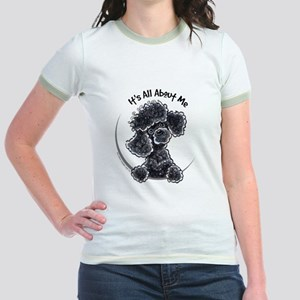 Black Poodle Lover Jr. Ringer T-Shirt