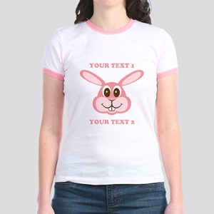 PERSONALIZE Pink Bunny Jr. Ringer T-Shirt